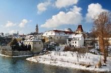 Český Krumlov - Poblíž Budějovické brány se vlévá do Vltavy Polečnice, foto: Archiv Vydavatelství MCU s.r.o.