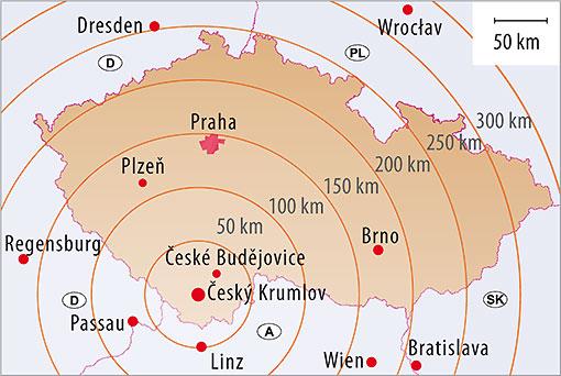 Český Krumlov and Czech Republic, map