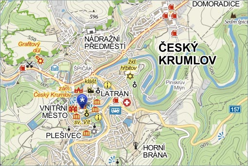 Český Krumlov, mapa - město, foto: mapy.cz, Zdroj: mapy.cz