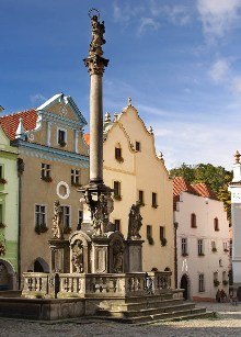 Český Krumlov - Fountain with plague pillar constructed in 1714–1716, photo by: Archiv Vydavatelství MCU s.r.o.